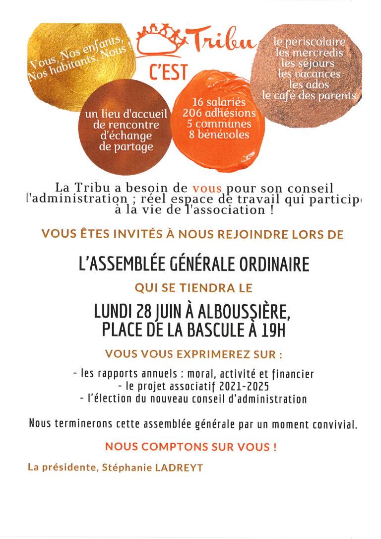 invitation AG 2020 le lundi 28 juin 19h00