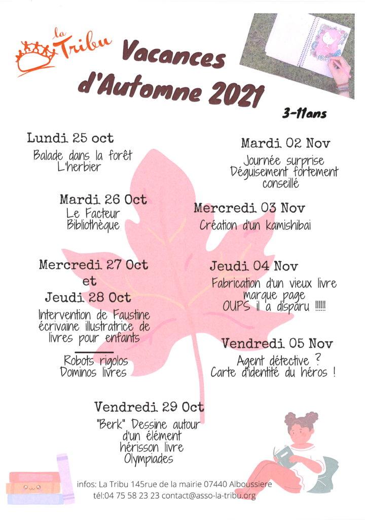 programme vacances automne 3/11 ans