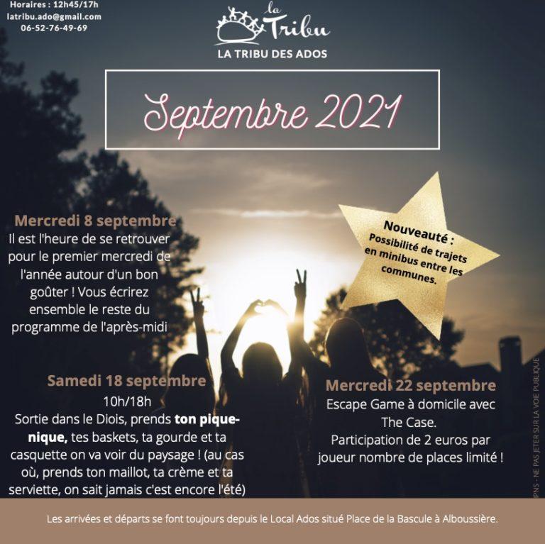 programme ADOS septembre 2021